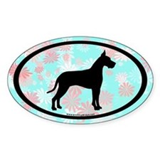 great dane oval (black on floral) Oval Decal