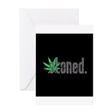 Vintage Stoned (Green Pot Leaf) Greeting Card
