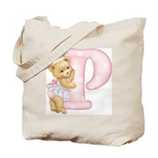 Teddy Alphabet P Pink Tote Bag