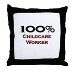 100 Percent Childcare Worker Throw Pillow