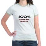 100 Percent Childcare Worker Jr. Ringer T-Shirt