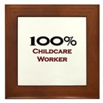 100 Percent Childcare Worker Framed Tile