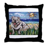 Happy Daisy Bulldog under the Throw Pillow