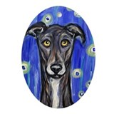 Portrait of a greyhound Oval Ornament