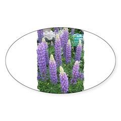 PURPLE FLOWERS Oval Sticker (50 pk)
