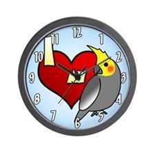 I Love My Male Gray Cockatiel Clock