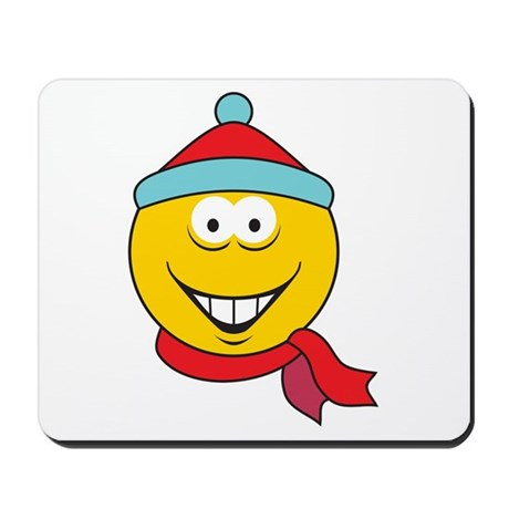 Cartoon Gifts  gt  Cartoon Office  gt  Winter Fun Smiley Face MousepadWinter Smiley Face