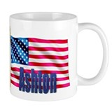 Ashton Personalized USA Flag Coffee Mug