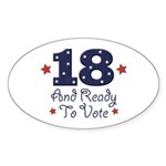 18 And Ready To Vote Oval Sticker (10 pk)