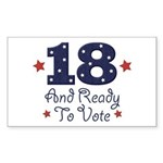 18 And Ready To Vote Rectangle Sticker 50 pk)