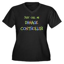 Damage Controller Women's Plus Size V-Neck Dark T-