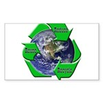 Reduce Reuse Recycle Earth Rectangle Sticker 10 p
