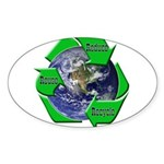 Reduce Reuse Recycle Earth Oval Sticker (10 pk)