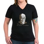 Dalai Lama Women's V-Neck Dark T-Shirt