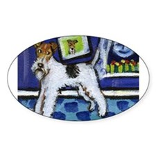 WIRE HAIRED FOX TERRIER art Oval Decal