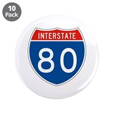 "Interstate 80, USA 3.5"" Button (10 pack)"