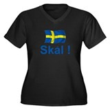 Swedish Skal! Women's Plus Size V-Neck Dark T-Shir