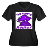 The Purple Monkey Women's Plus Size V-Neck Dark T-