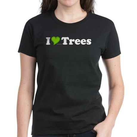 I Love Trees Womens Black Tee
