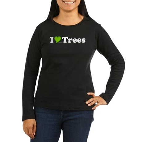 I Love Trees Womens Long Sleeve Brown Tee