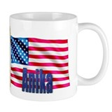 Anika Personalized USA Flag Small Mugs