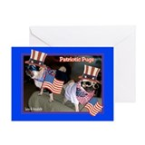 Patriotic Pugs Greeting Card
