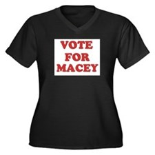 Vote for MACEY Women's Plus Size V-Neck Dark T-Shi