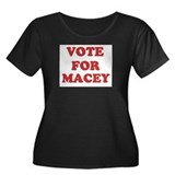 Vote for MACEY Women's Plus Size Scoop Neck Dark T