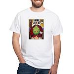 Alien Abduction Cat White T-Shirt