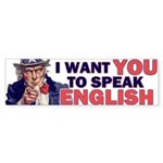 Uncle Sam: SPEAK ENGLISH Bumper Sticker