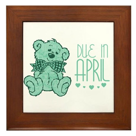 Green Marble Teddy Due In April Framed Tile