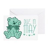 Green Marble Teddy Due In May Greeting Cards (Pk o