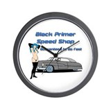 Black Primer Speed Shop Wall Clock