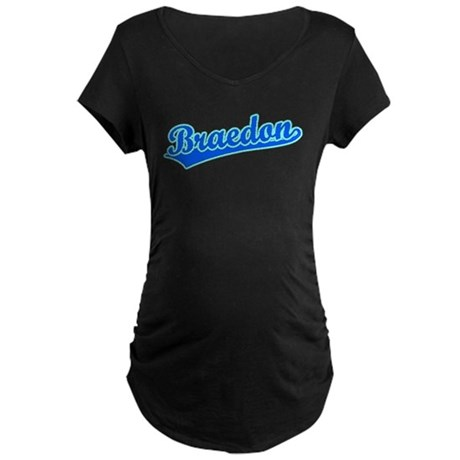 Retro Braedon (Blue) Maternity Dark T-Shirt