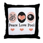 Peace Love Pool Eight Ball Throw Pillow
