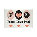 Peace Love Pool Eight Ball Rectangle Magnet (10 pa