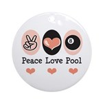 Peace Love Pool Eight Ball Ornament (Round)