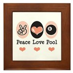 Peace Love Pool Eight Ball Framed Tile
