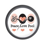 Peace Love Pool Eight Ball Wall Clock