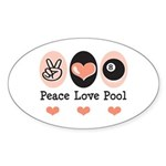 Peace Love Pool Eight Ball Oval Sticker