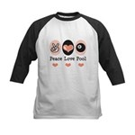 Peace Love Pool Eight Ball Kids Baseball Jersey