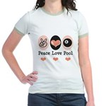 Peace Love Pool Eight Ball Jr. Ringer T-Shirt