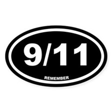 9/11 Remember Black Euro Oval Decal