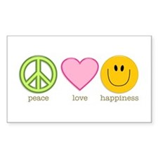 Peace Love & Happiness Rectangle Sticker 10 p