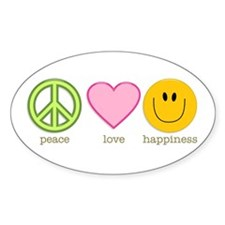 Peace Love & Happiness Oval Decal