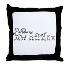 5 bunnies family Throw Pillow