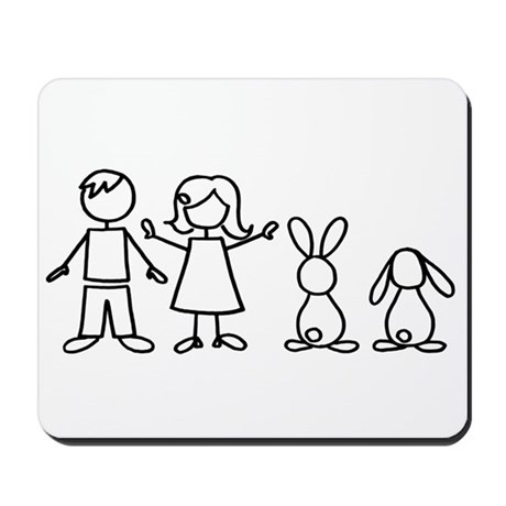 2 bunnies family Mousepad