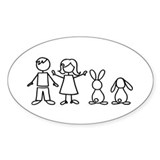 2 bunnies family Oval Sticker (50 pk)