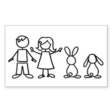 2 bunnies family Rectangle Decal