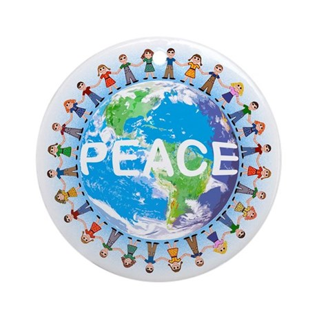 Art Gifts > Art Seasonal > World Peace ceramic Christmas ornament